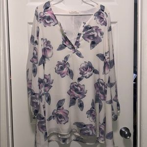 White and Purple Long Sleeve Floral Dress